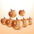 Happy halloween pumpkins — Vector de stock #10449364