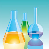 Color Chemical Flasks — Stock Vector