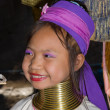 Portrait of Karen long neck hill tribe girl at village - Stock Photo