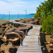 Wood walk way to sea . Island Koh Kood, Thailand . — Stock Photo
