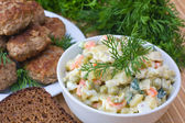 Russian traditional salad olivier — Stock Photo