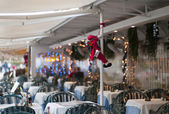 Christmas decorations in a restaurant — Stock Photo