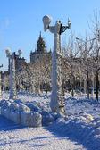 Snow-covered city — Stock Photo