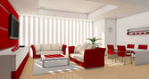 Red modern living room — Stock Photo
