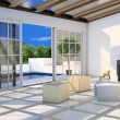 Living-room with terrace and plunge pool — Stock Photo