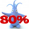 Cartoon figure with 80 percent symbol — Stock Photo
