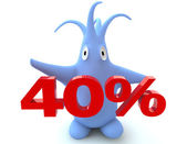 Cartoon figure with 40 percent symbol — Stock Photo