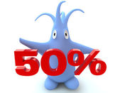 Cartoon figure with 50 percent symbol — Stock Photo
