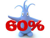Cartoon figure with 60 percent symbol — Stock Photo