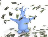 Cartoon figure catching raining money — Stock Photo