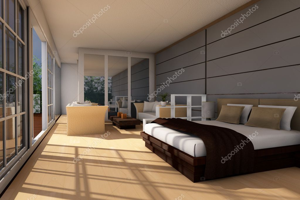 Modern Holiday Bedsitter Apartment Stock Photo