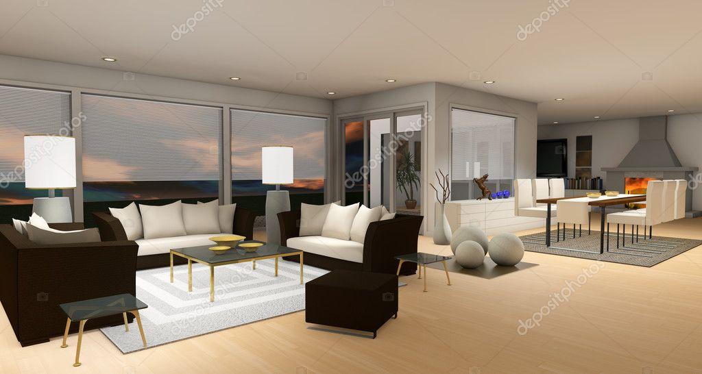 woonkamer interieur met een woonkamer en eethoek in neutrale kleuren ...
