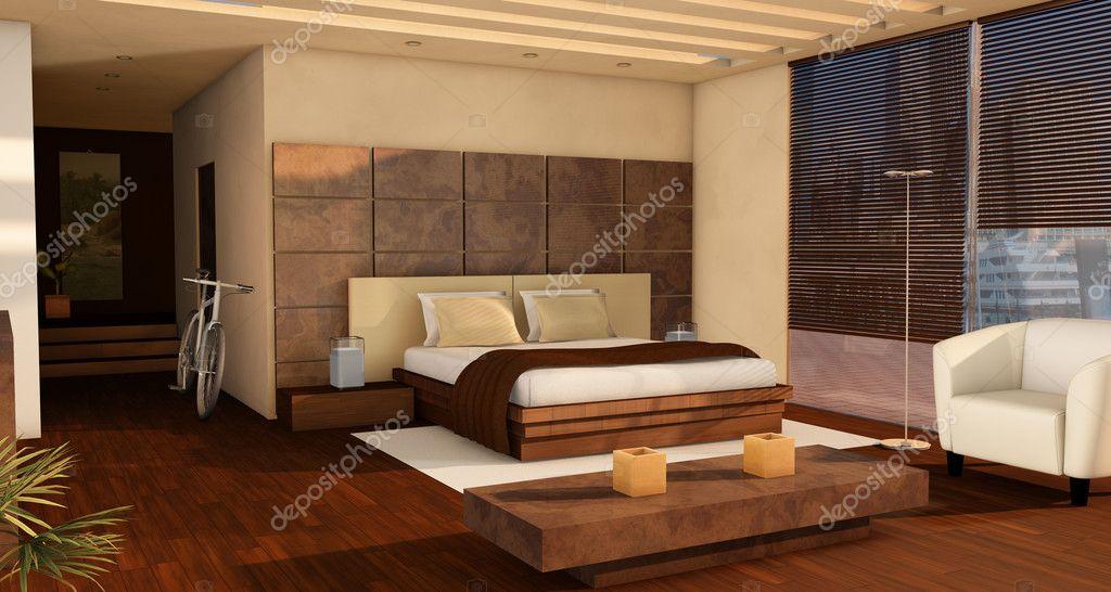 Downloaden - Luxe appartement slaapkamer interieur in tinten van bruin ...