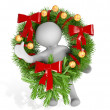 3d man with Christmas wreath — Stock Photo
