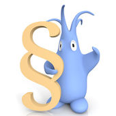 Cute cartoon character holding a paragraph symbol — Stock Photo