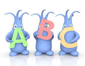 Three little monsters holding ABC letters — Stock Photo