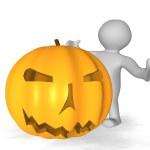 3d man with large Halloween pumpkin — Stock Photo