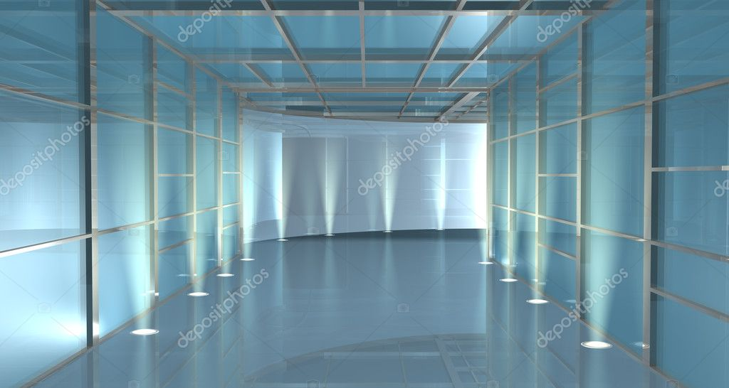 Empty straight covered subway or passageway curving at the end lit by uplighters down each side to provide a blue illumination — Stock Photo #10381667