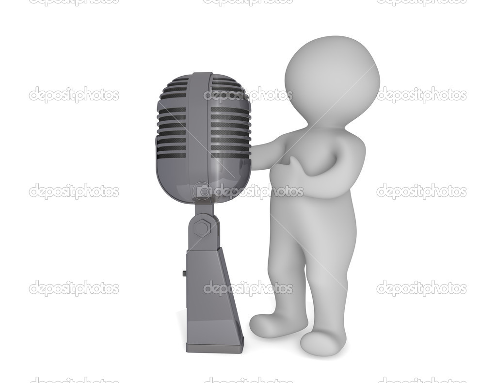 Small 3d human and microphone isolated on white — Stock Photo #10412959