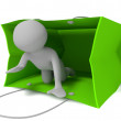Small 3d person coming out from green bag — Stock Photo #10455411