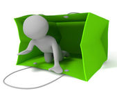 Small 3d person coming out from green bag — Stock Photo