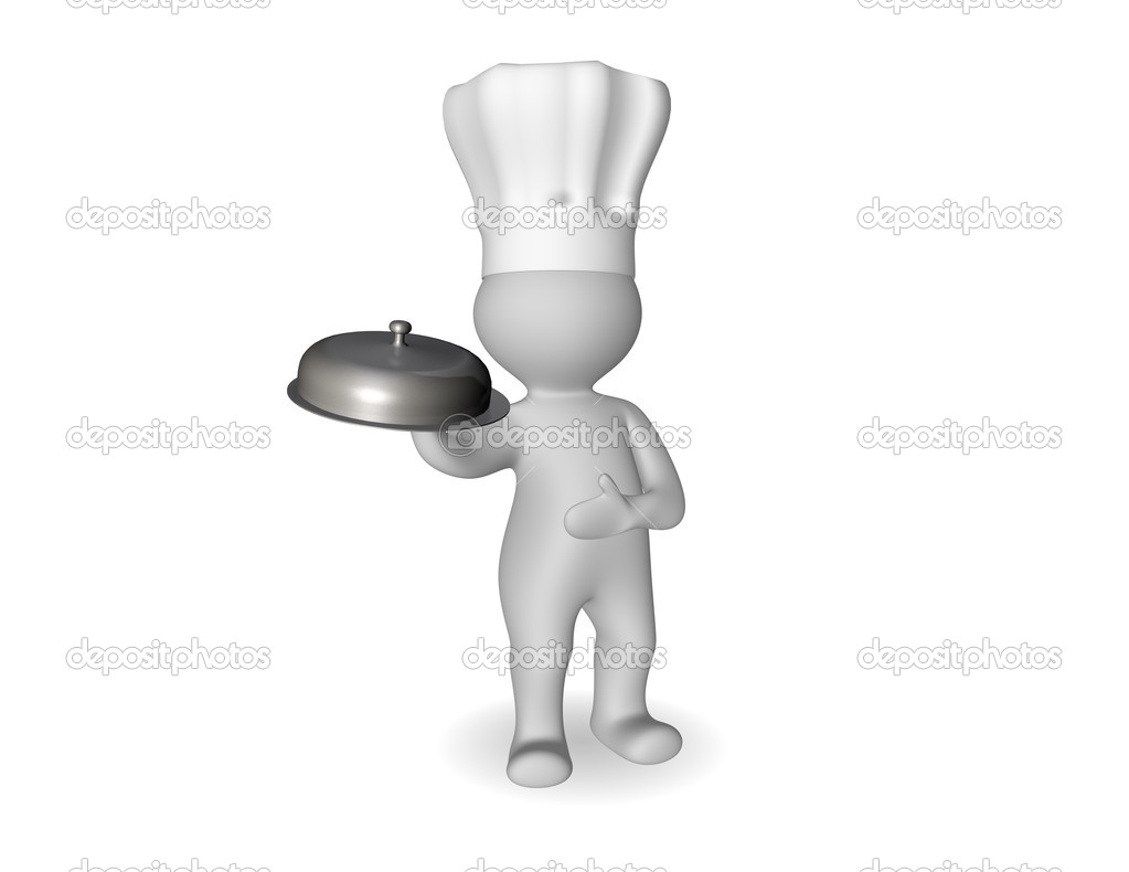 3d cartoon chef in a toque carrying a dish covered with a dome — Stock Photo #10455546