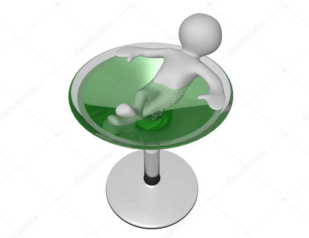 3d man cartoon figure relaxing in a glass of refreshing martini cocktail — Stock Photo #10455578