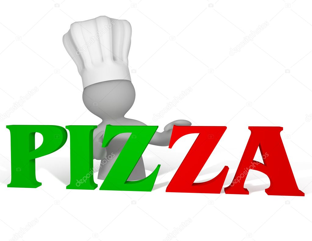 3d cartoon chef in a toque standing behind a red and green Pizza sign — Stock Photo #10462106