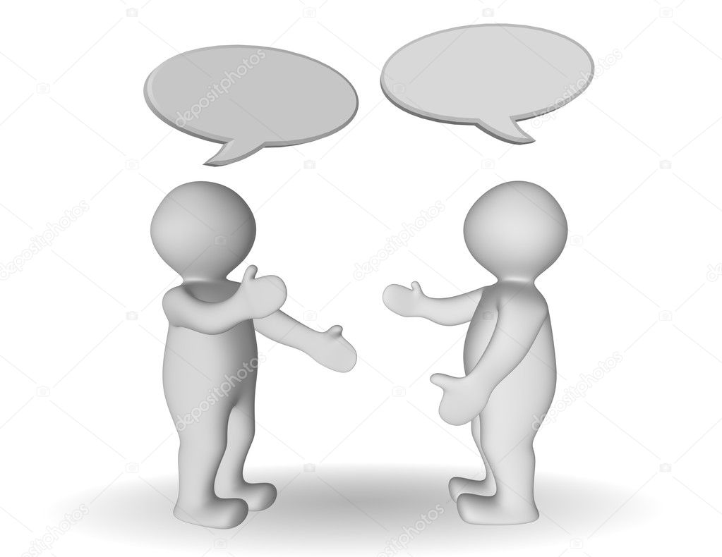 two 3d persons having conversation � stock photo