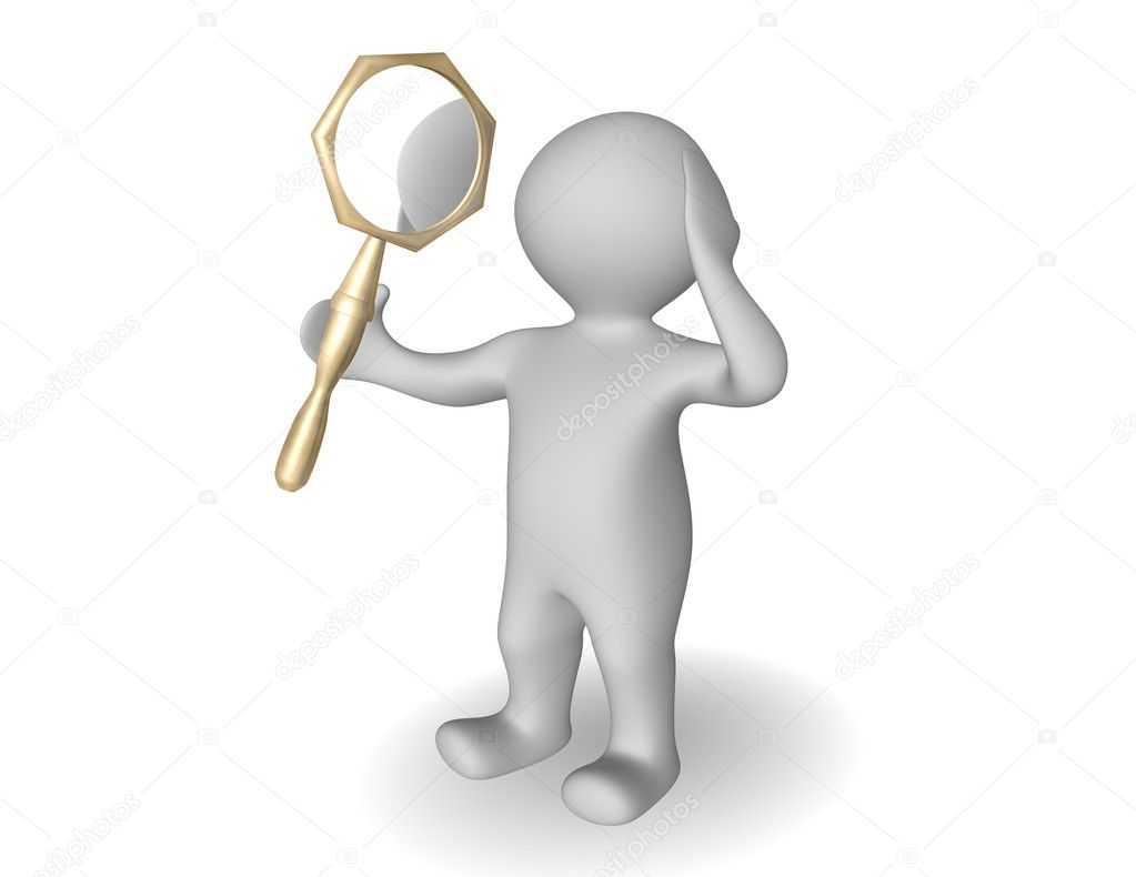 3d person looking itself in mirror — Stock Photo ...