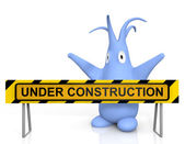 Cute blue monster and under construction sign — Stock Photo