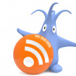 Cute monster Floopi and RSS feed button — Stock Photo