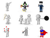 Picture set of 3d persons in various situations — Stock Photo