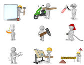 Picture set of 3d persons in various professions — Stock Photo