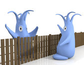 Cute 3d monsters neighbors — Stock Photo