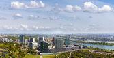 Amazing skyline of Donau City Vienna at the danube river — Stock Photo
