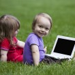 Babies with Notebook sitting on meadow — Stock Photo #10404904