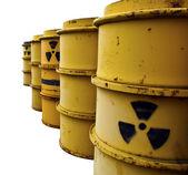 Tuns with radioactive warning symbol Isolated on White — Stock Photo