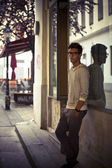 Cool young man in urban setting - Low Key — Stock Photo