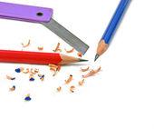 用刀片削铅笔 — 图库照片
