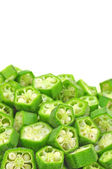 Pile of chopped okra pods — Stock Photo