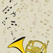 French horn and notes — Stock Vector #10339888