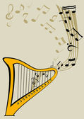 Harp and notes — Stock Vector