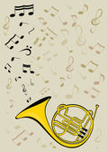 French horn and notes — Stock Vector