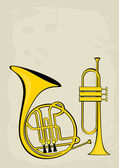 French horn, trumpet and notes — Stock Vector