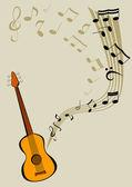 吉他和笔记 — 图库矢量图片
