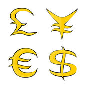 Symbols for Euro, Dollar, Pound and Yen — Stock Vector