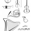 Violin, quitar, lyre, French horn, trumpet, harp and notes - Stock Vector