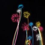 siyah bir zemin üzerine Neon çiçekler — Stok fotoğraf