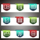 Color vector icons set. Vector navigation template — Vecteur
